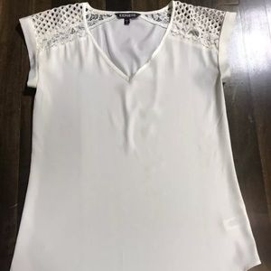 Express Women's Short Sleeve V-Neck Blouse w/ Lace
